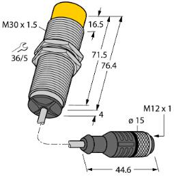 图尔克TURCK 感应耦合器 4300301 NICS-M30-IOL2P8-0,3-RKC4.4T 产品尺寸图