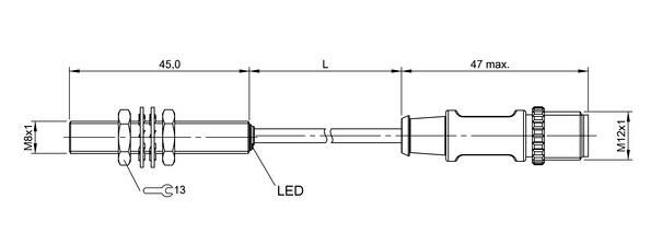 在排除了过载后,传感器将重新生效。 可准齐平安装:参见开关距离较大的感应式传感器825356的安装说明。 振荡器工作频率f:320 kHz。在工作频率15%的范围内,可能出现EMV不兼容的情况。 带插接器,例如BCC M425-.. 总长度 = 开关长度+19 mm。