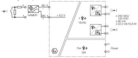 如果输入回路发生故障,双色led指示灯变成 红色,提示输入回路监控