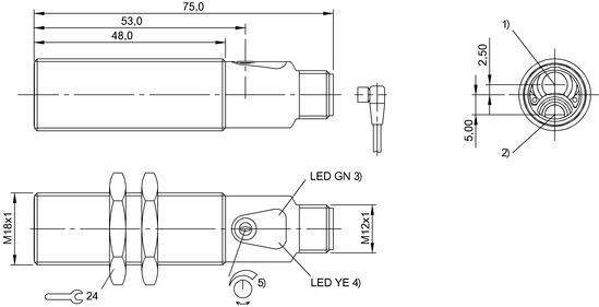 仅适用于符合NFPA 79的应用 (供电电压最高为600伏的机器)。对设备进行连接时,应使用具有相应特性的R/C (CYJV2) 电缆。 基准对象 (测量板):灰卡,100 x 100, 90 %漫反射,轴向接近。 在排除了过载后,传感器将重新生效。 附件单独订购。 更多信息:参见操作手册。