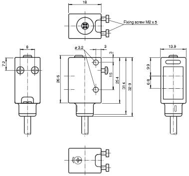 倍加福P+F 光电传感器 推挽式 ML6-8-H-120-RT/59/65a/115/136 产品尺寸图
