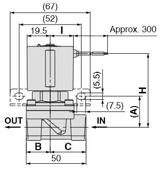 SMC直流黄铜防腐电磁阀VXD2130-03T-6DS1产品尺寸图