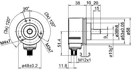 堡盟Baumer4路铝制法兰材料实心轴编码器EIL580-SC10.5FN.02048.A 产品结构图