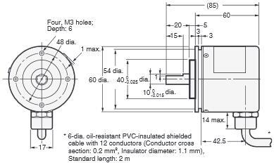 绝对值npn开路集极编码器omron欧姆龙e6f-ag5c-c5m