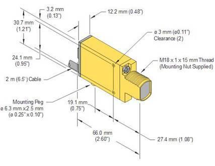 BANNER邦纳双极输出塑料光纤传感器SME312FP 产品尺寸图