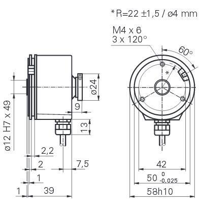 Baumer 堡盟联轴器通止安装增量型空心轴编码器 BHG 16.25W.5000-B2-5 产品结构图