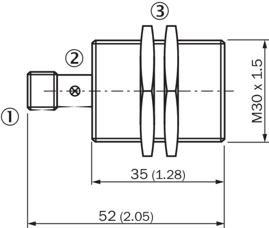西克sick电感式接近传感器ime30-15bpozc0k产品尺寸图