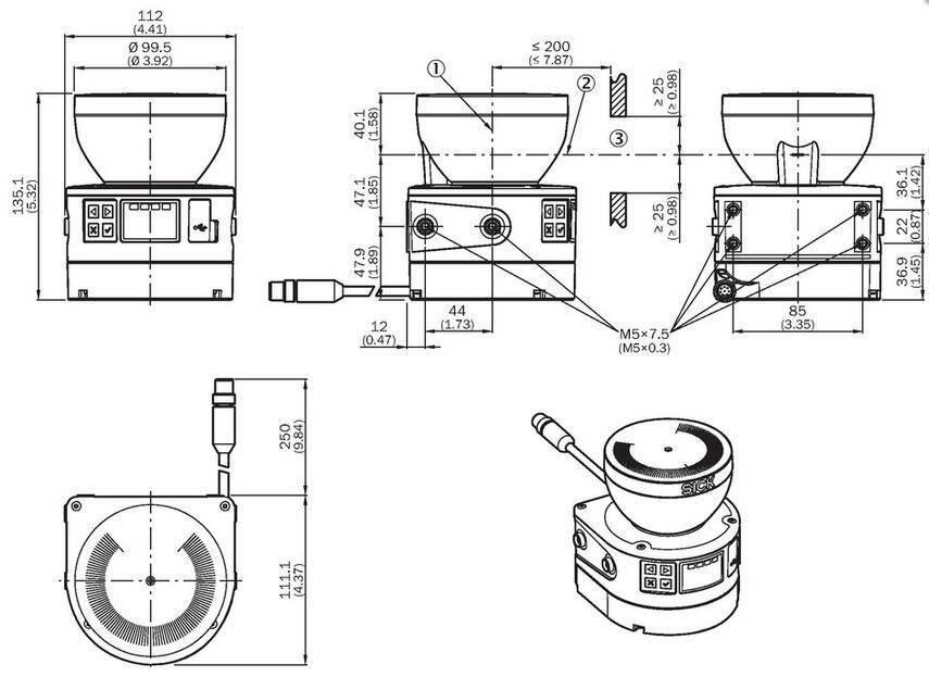 西克SICK安全激光扫描仪MICS3-ABAZ55IZ1产品尺寸图
